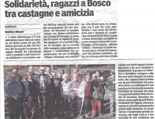Solidarietà, ragazzi a Bosco tra castagne e amicizia